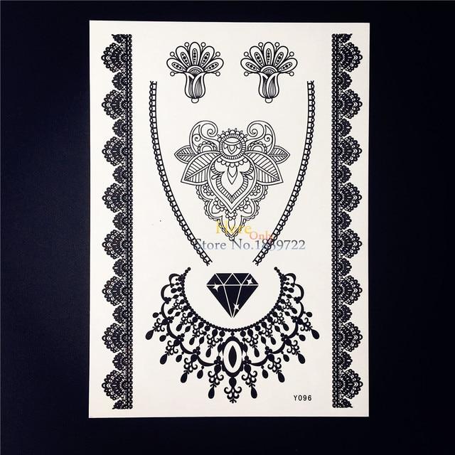 Black diamond choker necklace temporary tattoo sticker waterproof lace henna flower tattoo women body art tattoo