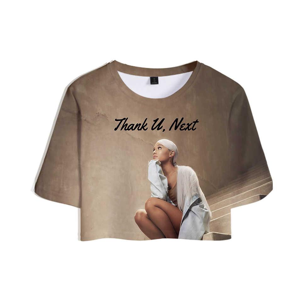 新 2019 ドロップショッピング 3D アリアナグランデトップス作物ガール tシャツショート tシャツ女性のセクシーな服ホット販売カジュアルプラスサイズ