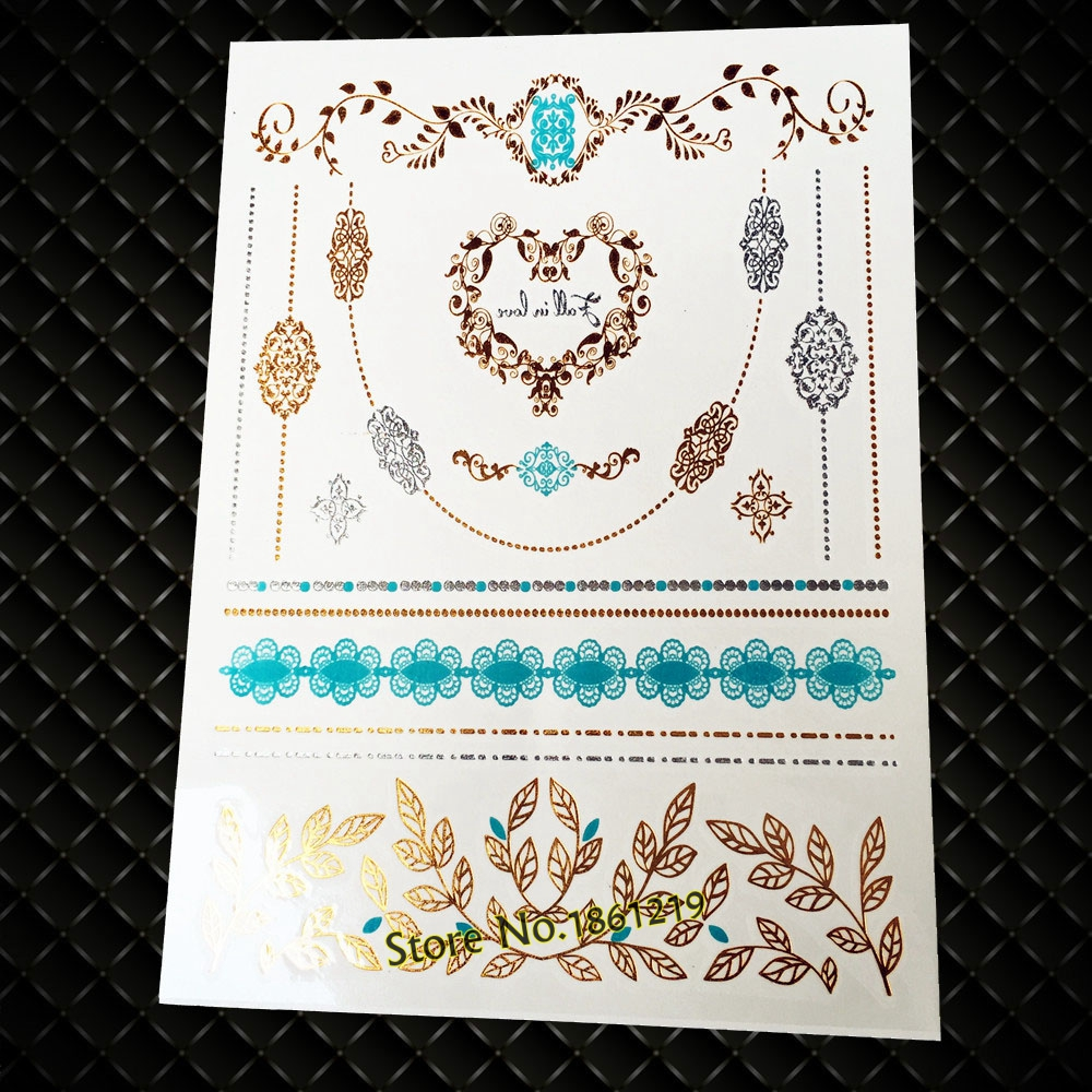 Popular Brand New Henna Style Temporary Tattoo Stickers Gold Gj 52