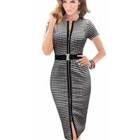 Straight New Summer Women Casual Work Plaid Dress With Zip Knee Length Natural Black White Color