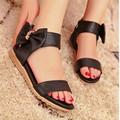 Genuine Leather Low Wedges Open Toe Sandals For Women Casaul Dress Sweet Bowtie Skid-proof Sole Zipper Sandals