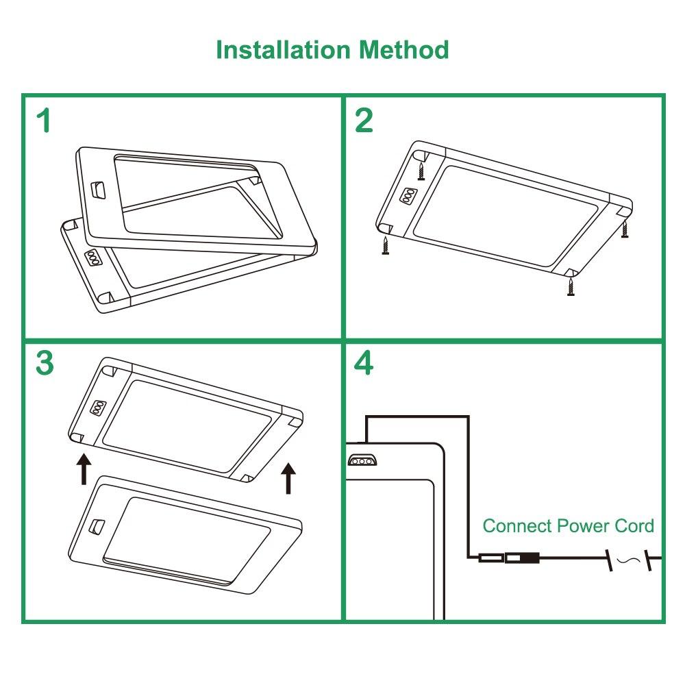 Capteur de main sans contact 5 W LED sous armoire armoire lampe panneau lumineux DC12V câblé adaptateur d'alimentation éclairage blanc - 6