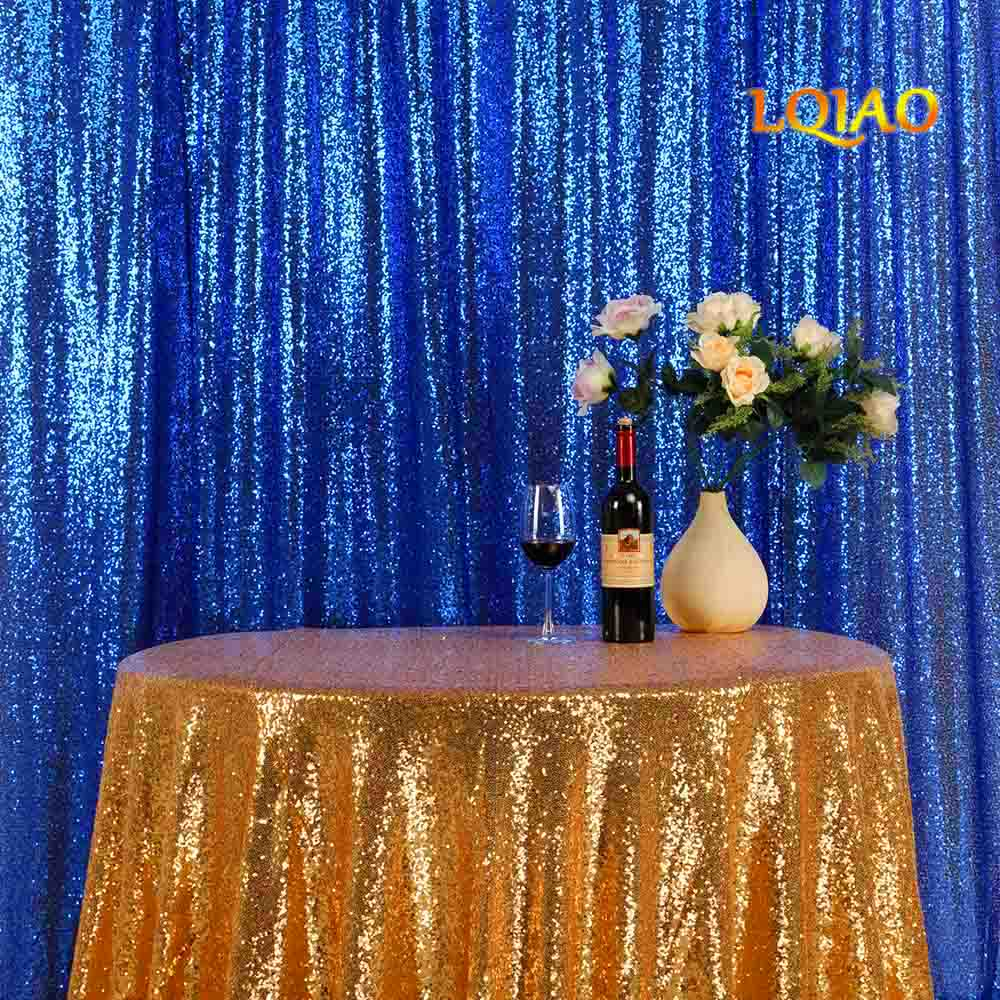 LQIAO 20ftx10ft Royal Blue Luxury Sequin Drapes Big Size Shimmer Sequin Curtain/Backdrop/Background for Wedding Party Decoration