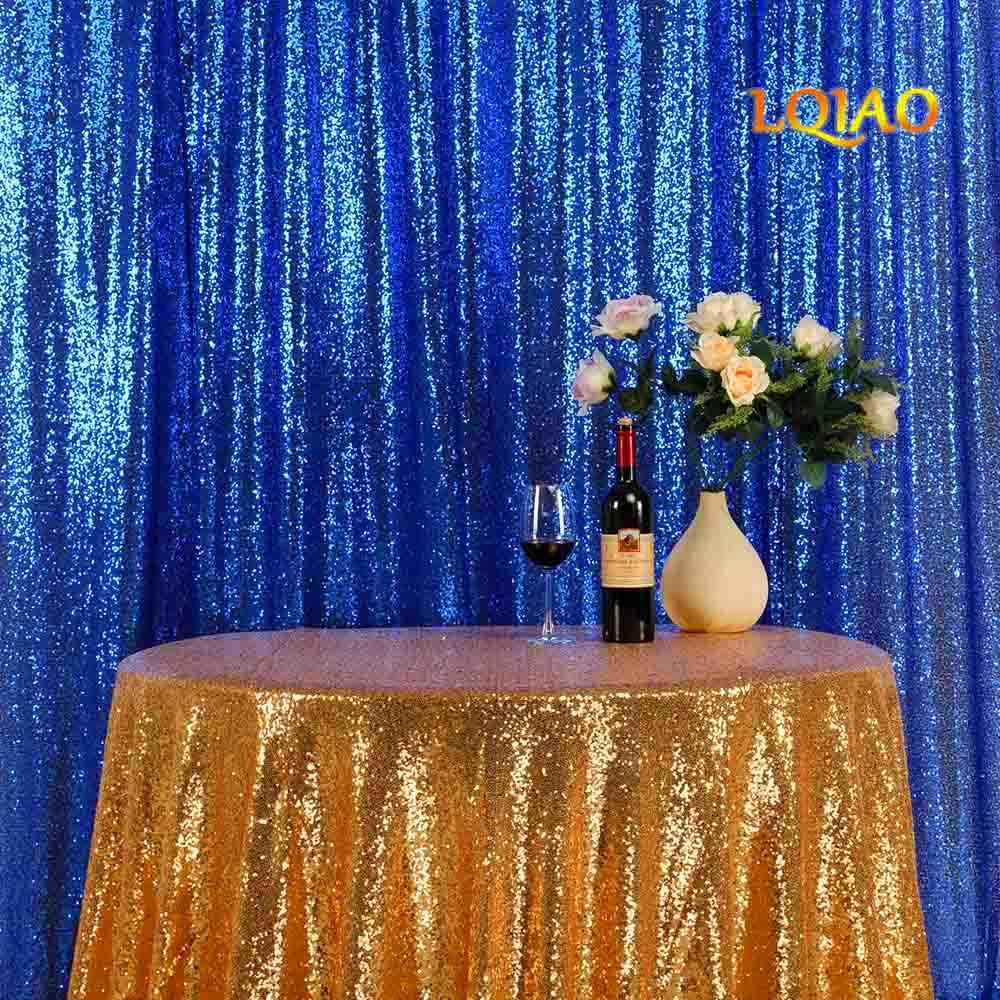 LQIAO 20ftx10ft rideaux de paillettes de luxe bleu Royal grande taille scintillant rideau de paillettes/toile de fond/fond pour la décoration de fête de mariage