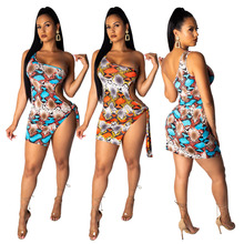 Women European And American Fashion Sexy Snake-Printed One-Shoulder Tie Dress