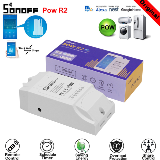 SONOFF POW R2 15A 3500 W controlador de interruptor Wifi en tiempo Real Medición del Monitor de consumo de energía para la automatización inteligente del hogar