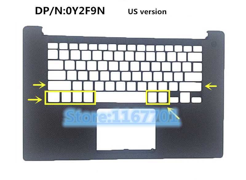 Laptop Keyboard/touchpad/Palmrest top case/cover/Housing for Dell XPS 15 9560 Precision M5520 0Y2F9N 091Y20 0014HV US/UK image
