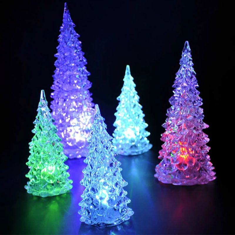 Small Battery Operated Christmas Tree: LED Battery Operated Colour Changing Night Light Desk