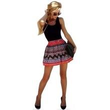 Women Casual Printed Black Sleeveless font b Dress b font Square Collar font b Mini b