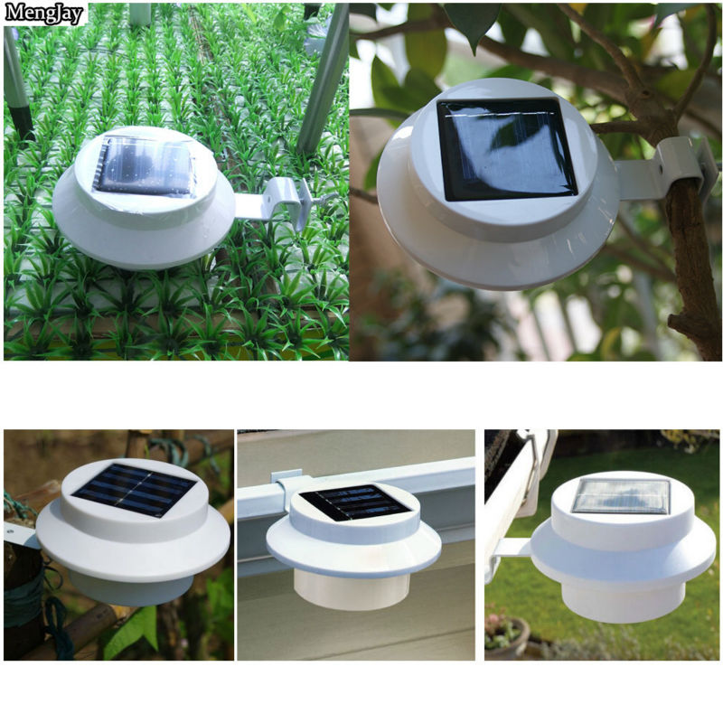 2x New Arrival! 3 leds light sensor control Solar Powered Fence Gutter Solar Lights, Outdoor Security Solar Lamps