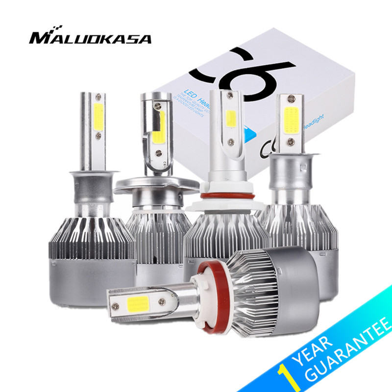 цена MALUOKASA 1Pair C6 H7 LED Car Headlight H13 H11 H1 H8/H11 9005 9006 H4/HB2/9003 Hi/Lo Beam Auto Lamp 72W 6000K White Car-styling