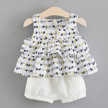 Baby Girl Clothes Summer Cotton Two-piece Cartoon Printing Cake T-shirt Skirt Shorts1-4 Y Child Quality Clothing 2019 Hot Sale