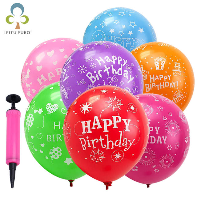 Online Shop 50 100pcs 12 Inch Latex Baloon Childrens Birthday Party Balloons Happy Printing Balloon GYH
