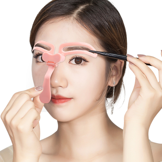Eyebrow Stencils Reusable Eyebrow Shaping Defining Foldable Stencils Eye Brow Drawing Guide Template Helper Pink Makeup Tool
