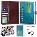 4 в 1 Цветочный Принт Pattern Кожаный Чехол для Samsung Galaxy Tab S 10.5 T800 T801 T805 Tablet Чехол + Экран протектор + OTG + Ручка