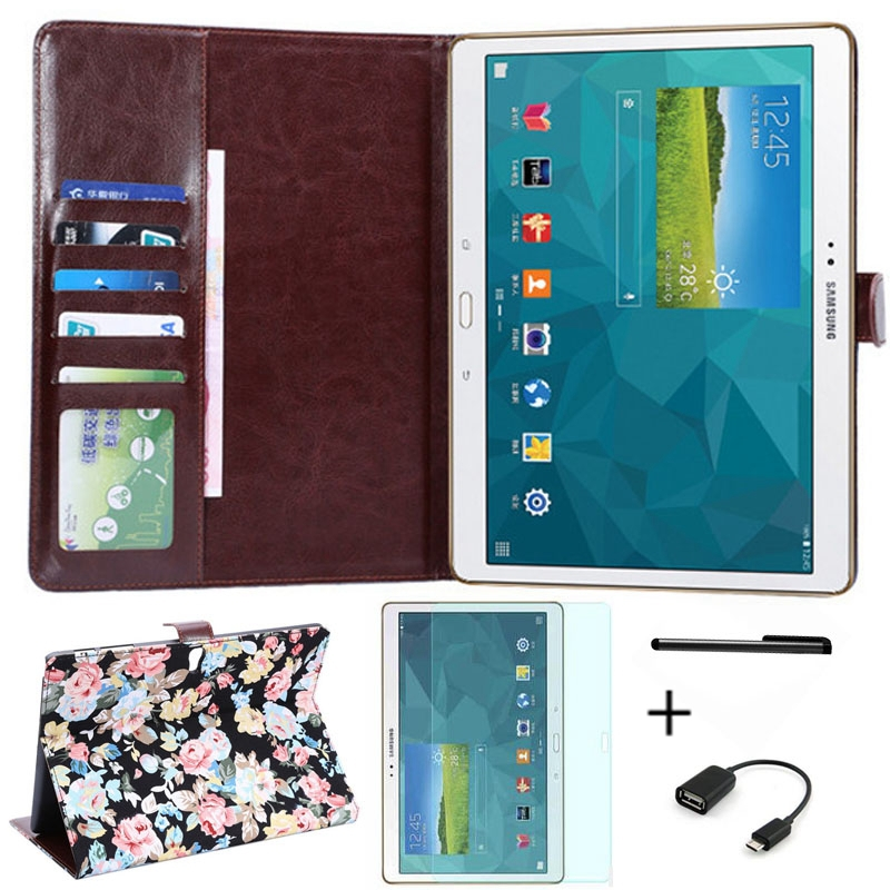 4 in 1 Floral Print Pattern Leather Case Cover for Samsung Galaxy Tab S 10.5 T800 T801 T805 Tablet Case+Screen Protector+OTG+Pen