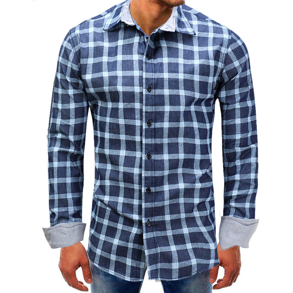 FeiTong Men Plaid Shirts Brand 2018 New Mens Denim Shirts Long Sleeve Slim Casual Black White Social Male Clothes Chemise Homme ...