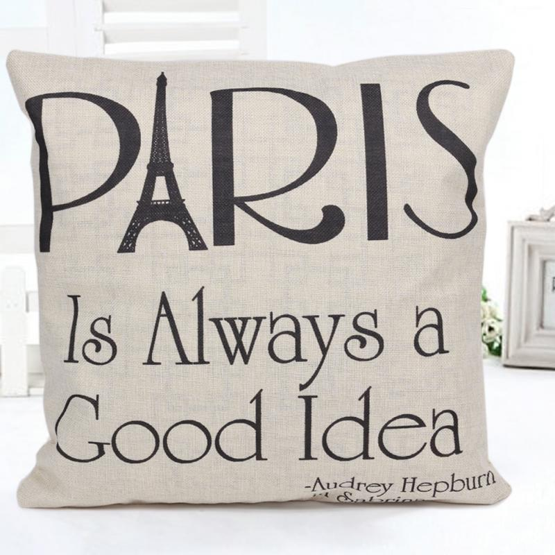Cotton Linen Square Decorative Throw Pillow Case Cushion Cover Paris