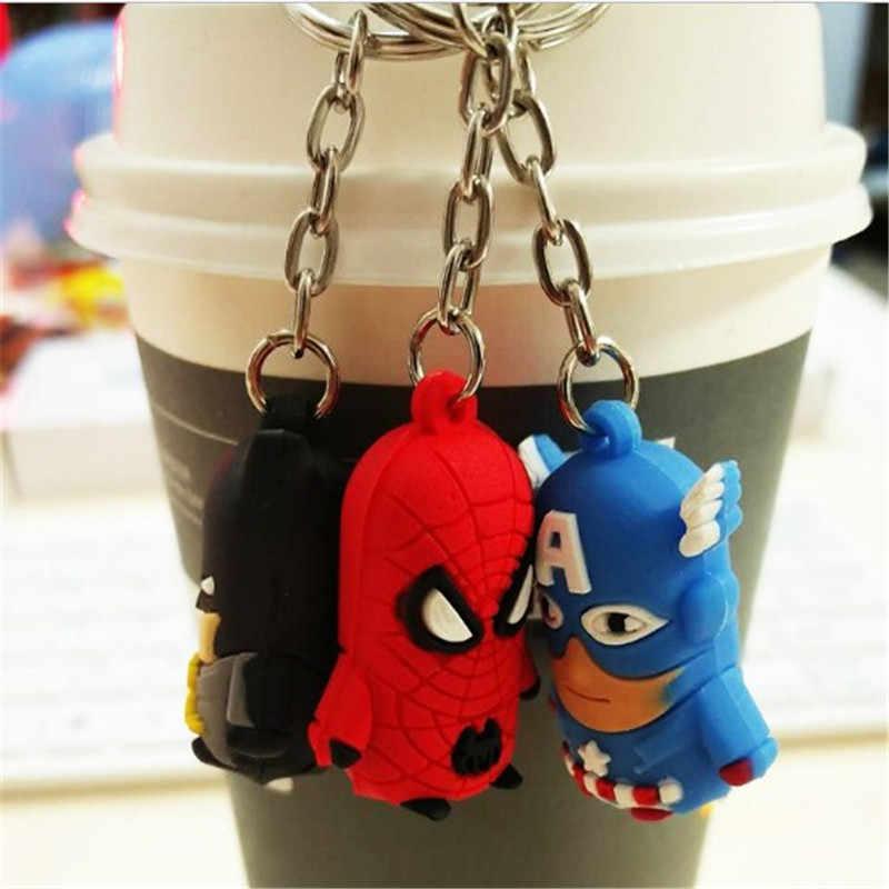 Marvel Đồ Chơi Phim Hoạt Hình Con Số Chính Chuỗi Superman Spiderman Batman Iron man Captain America Mỹ Xe Keychain Nhẫn Đồ Chơi