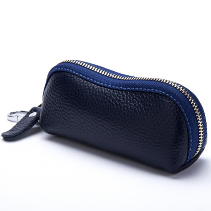 2017 New Women Men's Cowhide Leather Zipper Purse Bag Car Key Wallets Fashion Multifunction Housekeeper Holders Free Shipping