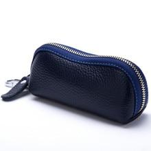 2015 neue Frauen herren Rindsleder Reißverschluss Geldbörse Tasche Auto Key Wallets Fashion Multifunktions Keeper Halter Freies Verschiffen