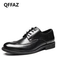 QFFAZ New Genuine Leather Men Dress Shoes High Quality Oxford Shoes Lace Up Business Men Shoes