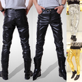New Arrival fashion slim PU leather pants Personality male slim leather pants men's clothing PU trousers Drop shipping