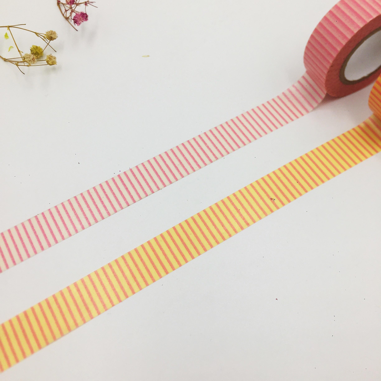 Free Shipping Beautiful  15mm*10m  High Quality  Washi Paper  Tape/Orange And Red Line  Masking  Japan  Washi Tape