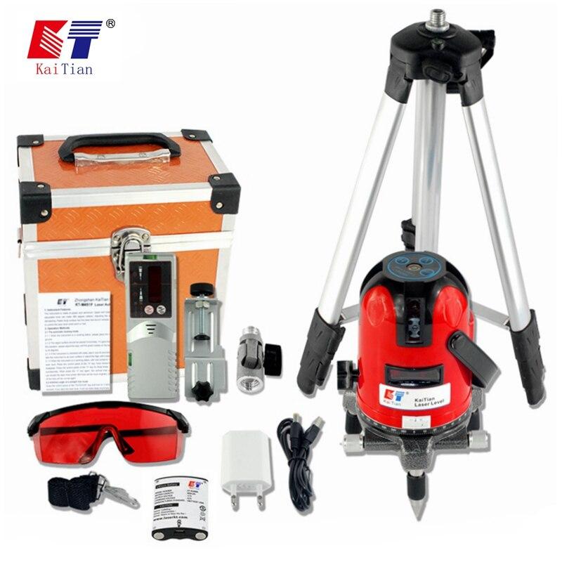 купить KaiTian Laser Level Tripod 5 Lines or 12Lines 3D 360 Rotary Self-Leveling Lasers Beam Vertical Horizontal Cross Nivel Laser Tool по цене 8244.06 рублей