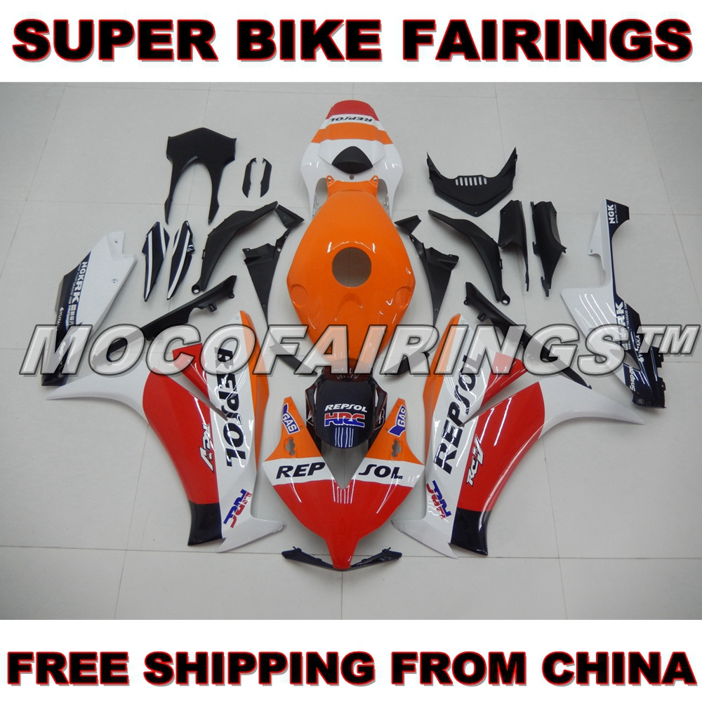 Complete ABS Injection Mold Fairing Body Work For Honda CBR1000 RR CBR1000RR 2012 2013 2014 Motorcycle Fairings White REPSOL new hot moto parts fairing kit for honda cbr1000rr 06 07 white blue injection mold fairings set cbr1000rr 2006 2007 ra14