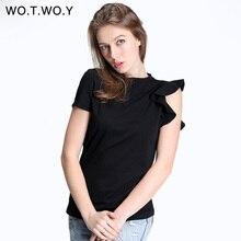 WOTWOY Spring Off Shoulder Ruffles Cotton T Shirt Women Elastic Short Sleeve Solid Color Black T-shirt Female Tops Soft Slim 301