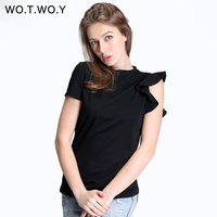 WOTWOY Spring Off Shoulder Ruffles Cotton T Shirt Women Elastic Short Sleeve Solid Color Black T
