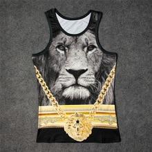 Lion with golden chain 3D Print Tank Tops Kids Mens Undershirt  teen Cotton Tee Loose Unisex Garment