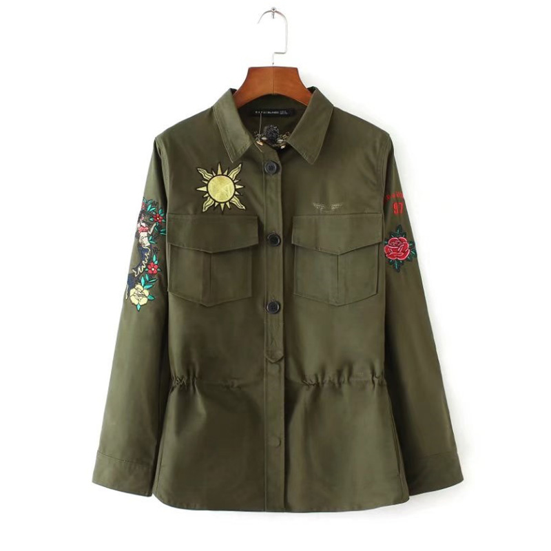 0a9ce7b32961c Autumn Winter women s military jacket Drawstring Windbreaker Coat army  green embroidery Casacos Jaqueta Feminina Chaquetas Mujer