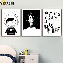 Rocket Boy Dream Big Astronaut Nordic Posters And Prints Wall Art Canvas Painting Black White Wall Pictures Baby Kids Room Decor(China)