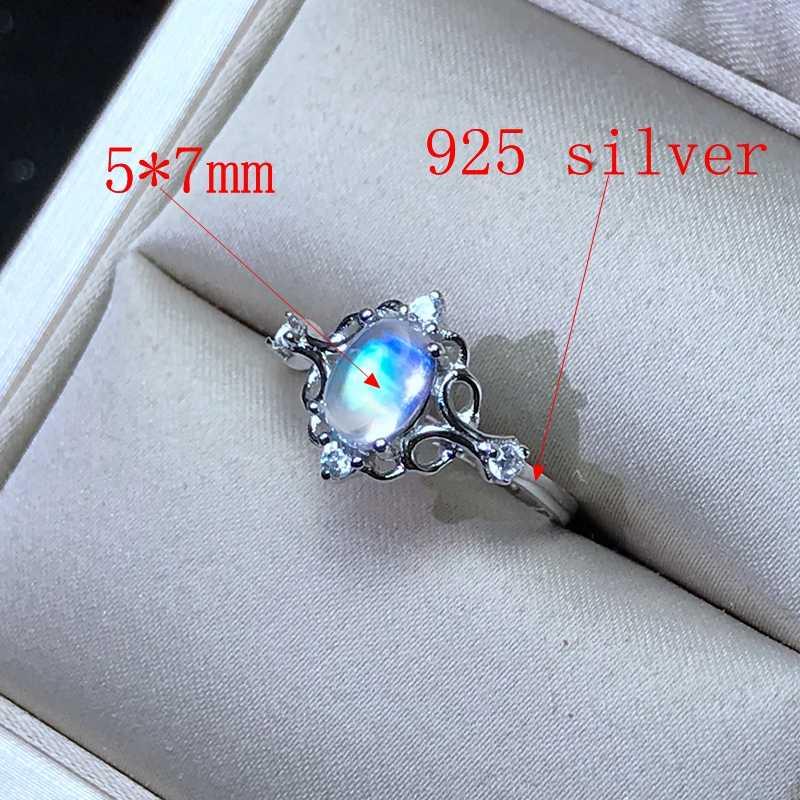 925 เงินธรรมชาติมูนสโตนสีฟ้าแหวนเลดี้แก้วคุณภาพดี