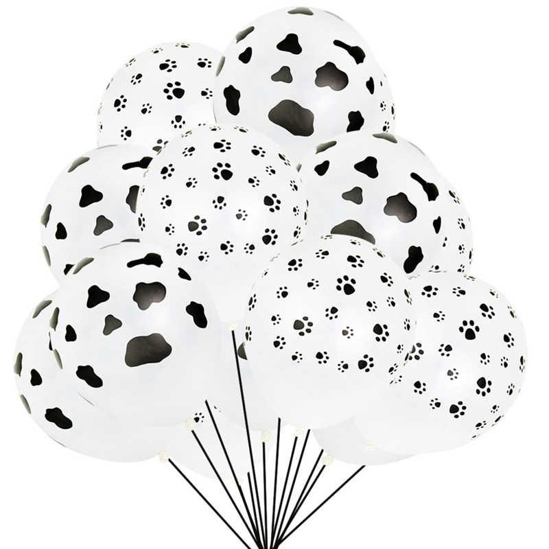 10 pcs 12 polegada Unicórnio Balões de Festa Preto Pata Do Cão Animal Bolas Decoração Crianças Tema da Festa de Aniversário Balões De Látex De Hélio globos