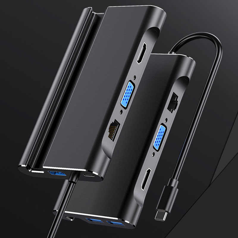 Stacja dokująca do laptopa USB C USB 3.0 hdmi vga RJ45 PD USB Hub do laptopa Macbook Pro HP DELL powierzchnia Lenovo Samsung Dock