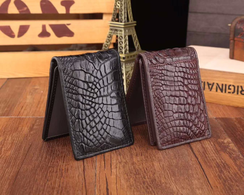 2018 fashion Genuine/Real Crocodile Skin Leather bank credit card holder drive license card holder case black brown free ship 2018 fashion genuine real crocodile skin