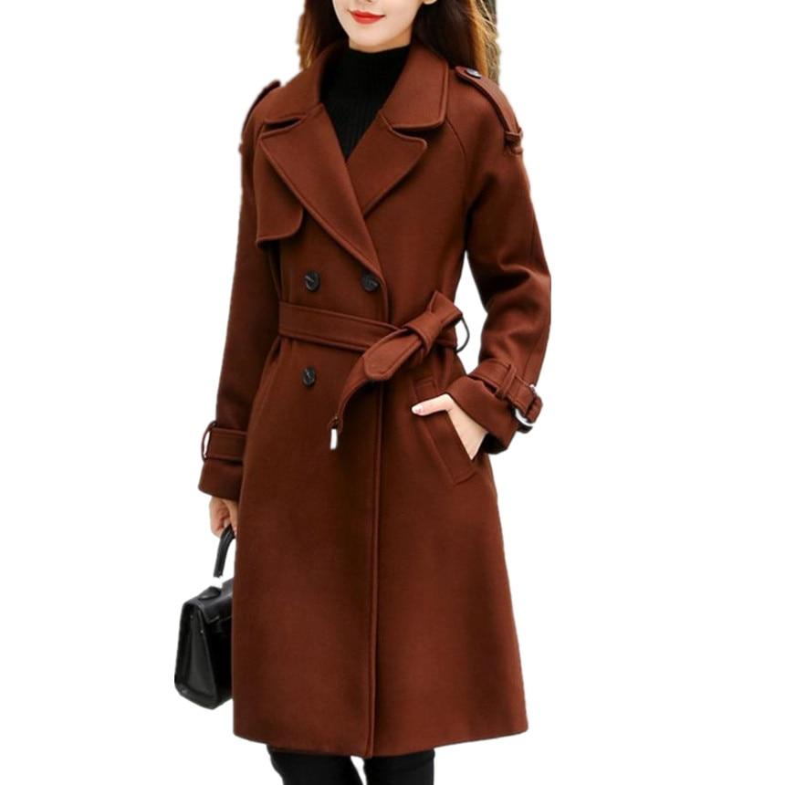 2018 New Autumn Winter Women Long Woolen Coat Fashion Slim Double Breasted Belted Wool Blends Coat