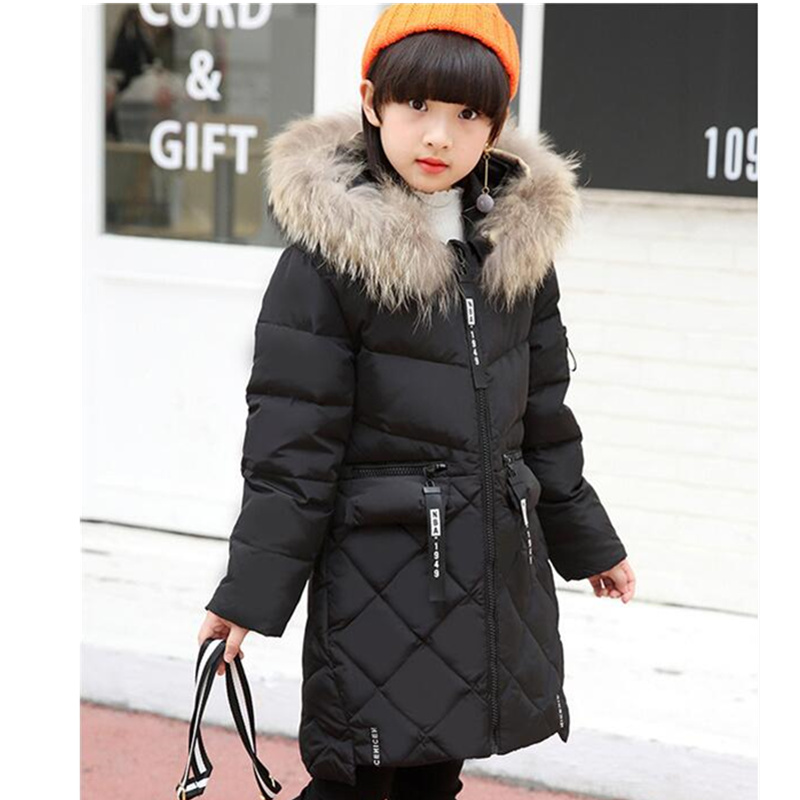 Winter Down Jacket For Girls New Brand Fashion Fur Collar Children Hooded Parka Long Coat Thick Duck Down Warm Kids Clothes