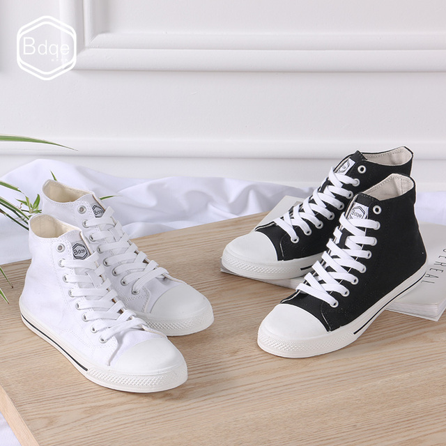 BDQE Classic superstar female casual canvas shoes ladies sneakers high to help skateboard shoes brand fashion ladies flat shoes