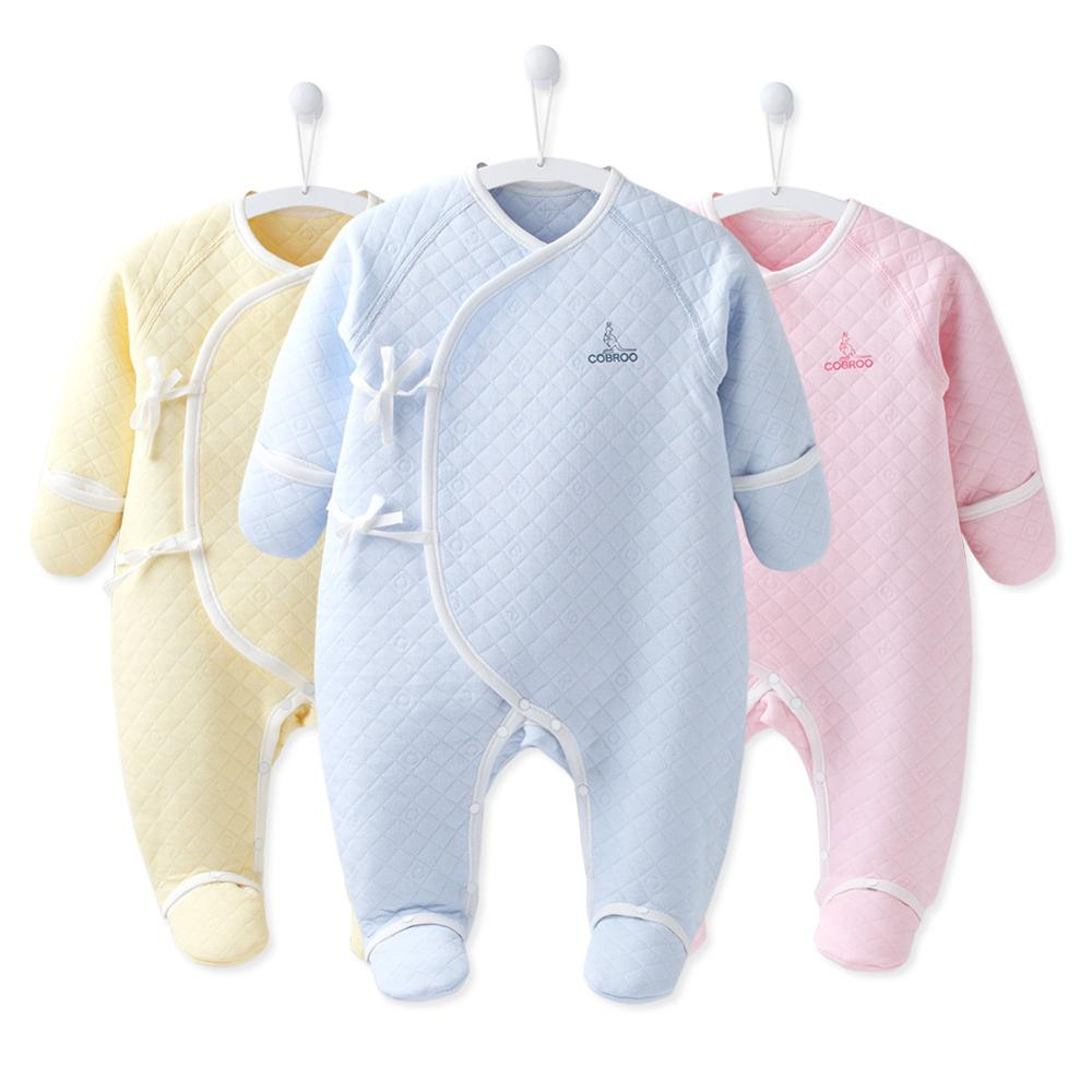 COBROO 100% Cotton Newborn Footie Pajamas With Mittens Side-Belt Infant Footed Sleeper Cozy Warm Baby Outfits 0-3 Months