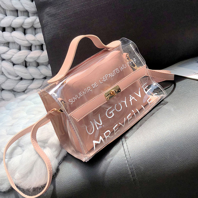 Transparent Handbag Clutch-Bags Messenger-Bags Small Tote Jelly Clear Crossbody Female