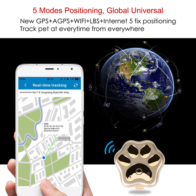 Smart Waterproof IP66 Mini Pet GPS  Realtime Tracking LED Rolling Light Long Time Standby  5