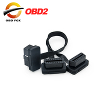 Flat+Thin As Noodle OBDII OBD 2 OBD2 16 Pin ELM327 Male To Dual Female Y Splitter Elbow Extension Connector Cable free shipping