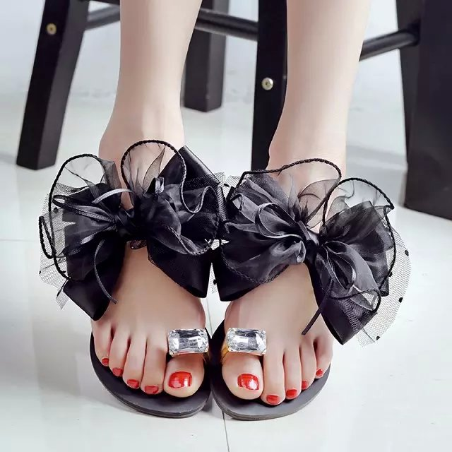 Bowtie Lace Women <font><b>Sandals</b></font> 2019 New Fashion Summer Bow <font><b>Flat</b></font> Flip Flops Beach Causal Outdoor <font><b>Flats</b></font> Slippers <font><b>Sexy</b></font> Woman <font><b>Sandals</b></font> image