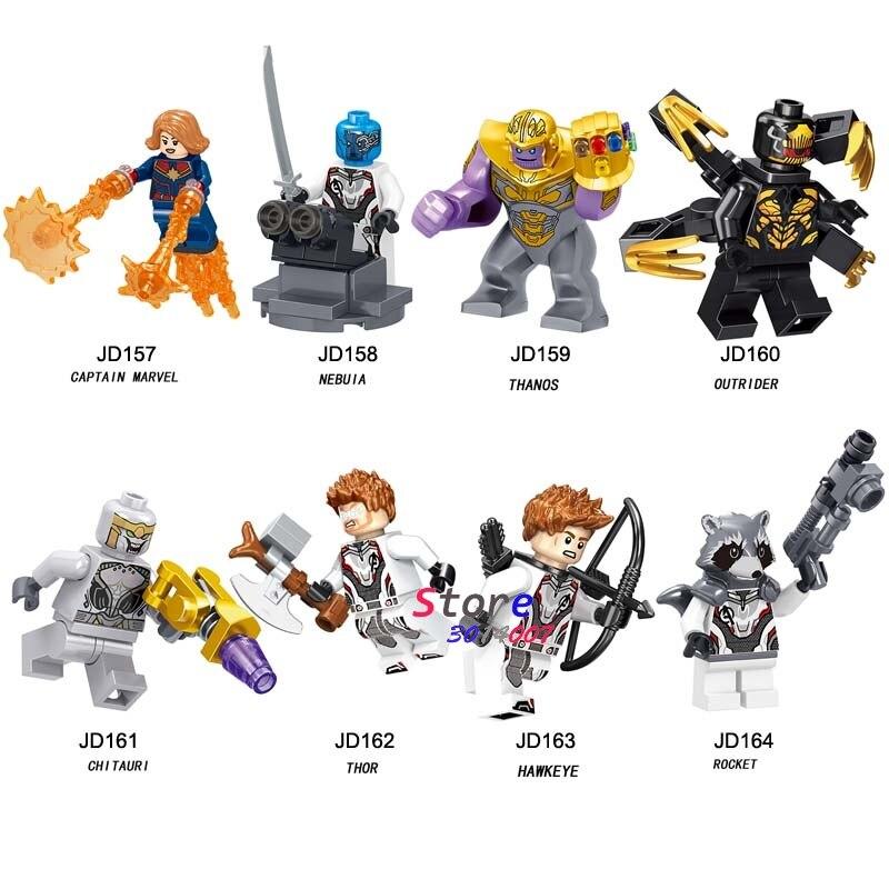 50pcs Thanos Captain Marvel Avengers Endgame Nebula Thor Outrider Chitauri Rocket Hawkeye building block for children