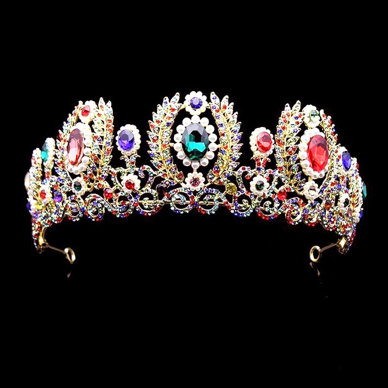 Europos baroko stiliaus didžiojo perlo tiara krištolo vestuvių plaukų aksesuarai spalvingi Kalnų krištolas karalienei Pageant Crown derliaus plaukų papuošalai
