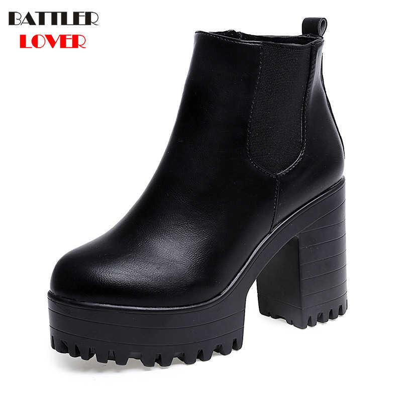 a7755943e Женская обувь, модные женские весенние ботинки на квадратном каблуке,  кожаные туфли на платформе,